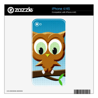 Newsprint Cartoon Owl Decals For The iPhone 4S