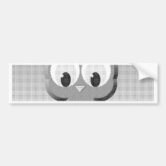 Newsprint Owl In Black And White Bumper Sticker