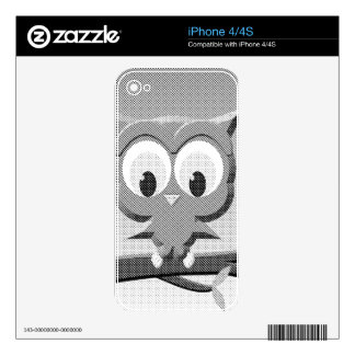 Newsprint Owl In Black And White Decals For iPhone 4S