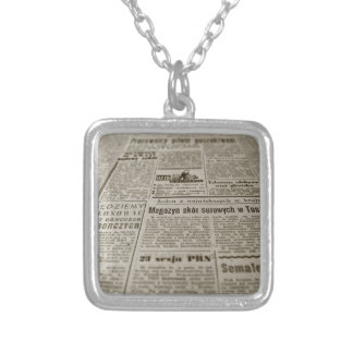 Newsprint Silver Plated Necklace