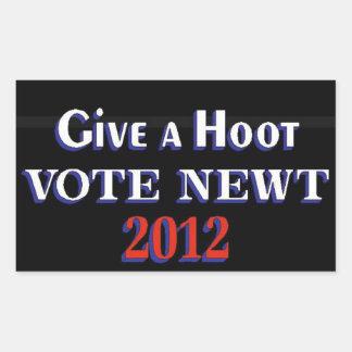 Newt 2012 GAH del voto Pegatina Rectangular