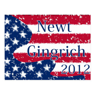 Newt Gingrich 2012 Altered US Flag Post Card
