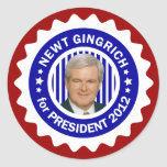 Newt Gingrich 2012 for President Round Stickers