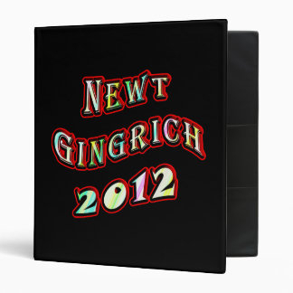 Newt Gingrich 2012 - Newt Portrait On Back Binder