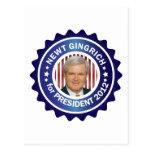 Newt Gingrich 2012 Tarjeta Postal