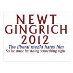Newt Gingrich 2012 Tarjetas Postales