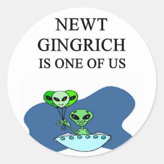 NEWT gingrich, alien Round Stickers