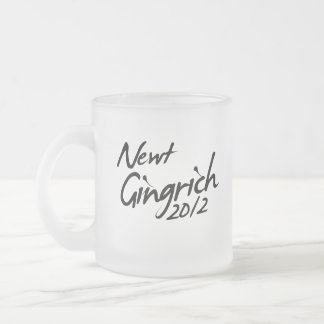 NEWT GINGRICH AUTOGRAPH 2012 10 OZ FROSTED GLASS COFFEE MUG