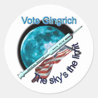 Newt Gingrich - el límite del cielo Pegatina Redonda