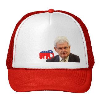 Newt Gingrich & Elephant - Red, White, & Blue Trucker Hat