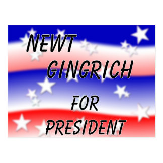 Newt Gingrich For President Fading Red White & Blu Postcard