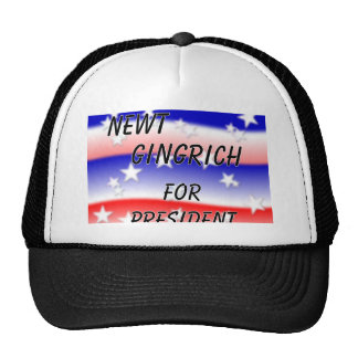 Newt Gingrich For President Fading Red White & Blu Trucker Hat