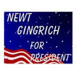 Newt Gingrich For President Night Sky Postcard