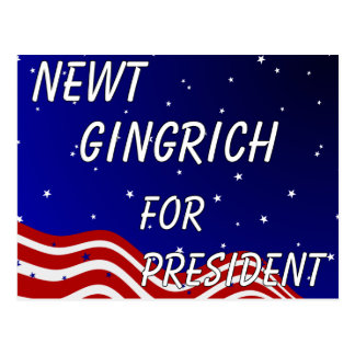 Newt Gingrich For President Night Sky Post Card