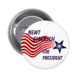 Newt Gingrich For President Shooting Star Pinback Buttons