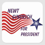 Newt Gingrich For President Shooting Star Square Stickers