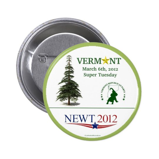 Newt Gingrich in 2012 Vermont Primary political pi Pinback Button