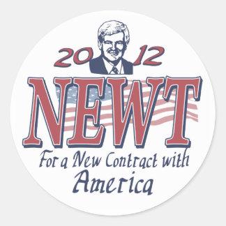 Newt Gingrich para el presidente 2012 engranaje Pegatinas Redondas