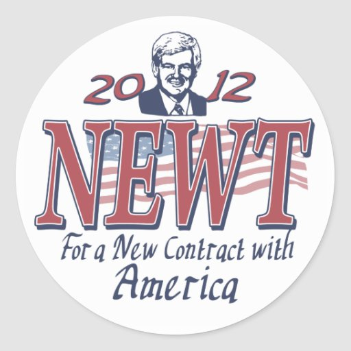 Newt Gingrich para el presidente 2012 engranaje Pegatina Redonda