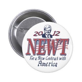 Newt Gingrich para el presidente 2012 engranaje Pins