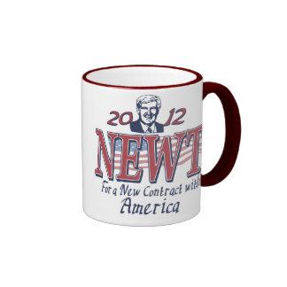 Newt Gingrich para el presidente 2012 engranaje Taza De Dos Colores