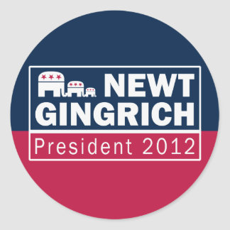 Newt Gingrich President 2012 Republican Elephant Classic Round Sticker