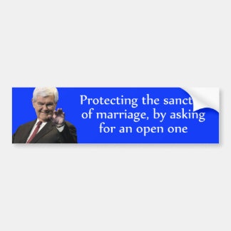 Newt Gingrich: Protecting the Sanctity of Marriage Bumper Sticker