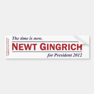 Newt Gingrich The Time is Now President 2012 Bumper Sticker