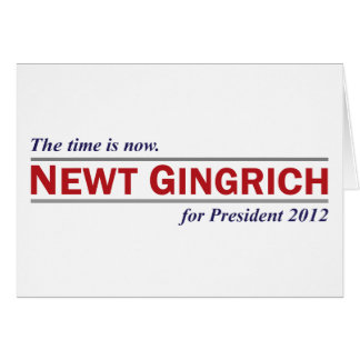 Newt Gingrich The Time is Now President 2012 Card