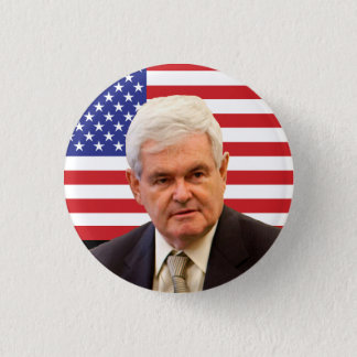 Newt Gingrich & U.S. Flag Button