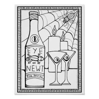 Newt Martini Cardstock Adult Coloring Page Poster