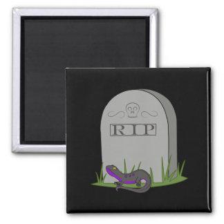 Newt púrpura y negro con la piedra del sepulcro imán cuadrado