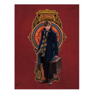 Newt Scamander Standing Art Nouveau Panel Postcard