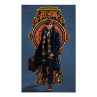 NEWT SCAMANDER™ Walking Art Nouveau Panel Poster