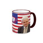 Newt y fiesta del té - rojos, blancos, y azul tazas de café