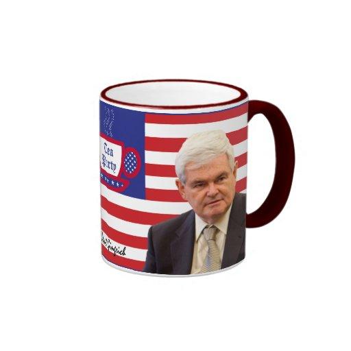Newt y fiesta del té - rojos, blancos, y azul taza de dos colores