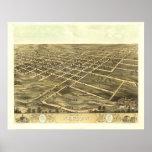 Newton 1868 Antique Panoramic Map Poster