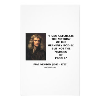 Newton Calculate Motions Madness Of People Quote Customized Stationery