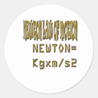 Newton law  of motion classic round sticker