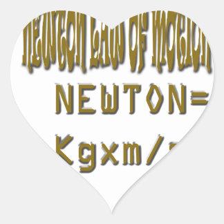 Newton law  of motion heart sticker