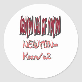 Newton law  of motion Red Color Classic Round Sticker
