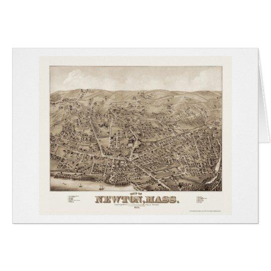 Newton, MA Panoramic Map - 1878 Card