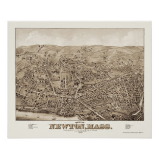Newton, MA Panoramic Map - 1878 Poster
