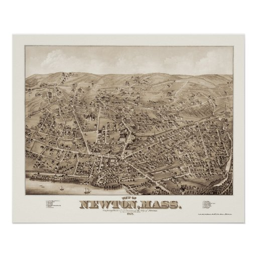 Newton, mapa panorámico del mA - 1878 Póster