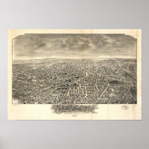 Newton Massachusetts 1897 Antique Panoramic Map Poster