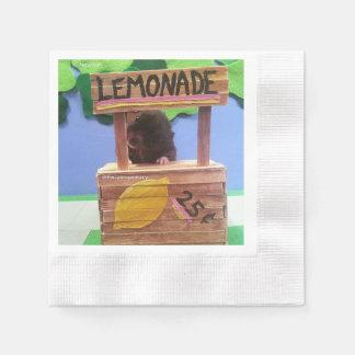 Newton quiere vender un poco de limonada servilletas desechables