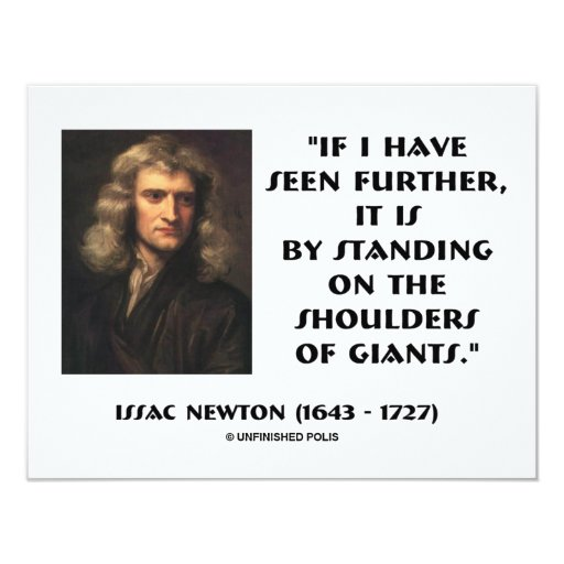 "Newton Standing On The Shoulders Of Giants 4.25"" X 5.5"" Invitation Card"