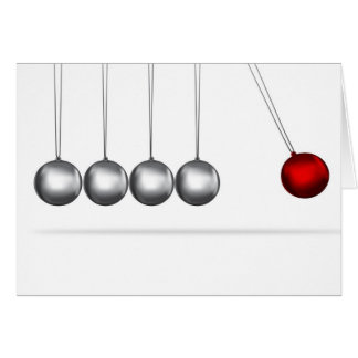 newtons cradle silver balls concept greeting card