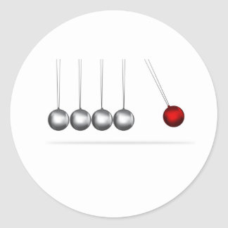 newtons cradle silver balls concept classic round sticker