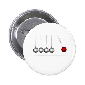 newtons cradle silver balls concept pinback button